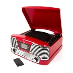 GPO Memphis 25W 4-in-1 System Record Player - Red
