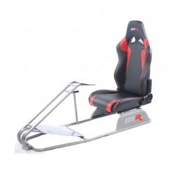 GTR Simulator GTS Model Simulator with Diamond Silver Frame Adjustable Leatherette Real Racing Seat - Black/Red