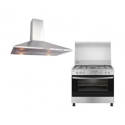 Frigidaire 90X60cm 5 Burner Gas Cooker + Frigidaire 90cm Chimney Cooker Hood