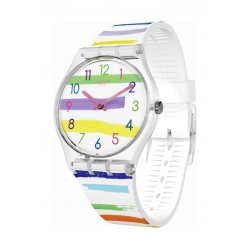 Swatch Colorland Analog Quartz 34mm Rubber Watch (SWAGE254) - White