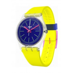 Swatch Accecante Analog Quartz 34mm Rubber Watch (GE255) - Yellow