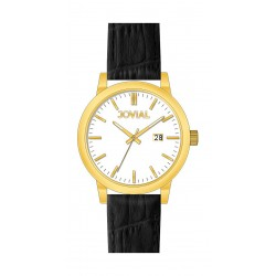 Jovial GG2008-11 Fashion Analog Gents Watch – Leather Strap - Black