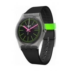 Swatch Fluo Loopy Analog Quartz 34mm Rubber Watch (GM189) - Black