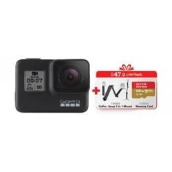 GoPro HERO7 Black Camera + GoPro 3-way 3 in 1 Mount + SanDisk 128GB Memory Card