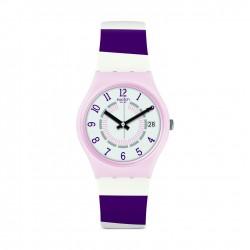 Swatch Listen To Me Miss Yacht Quartz Analog 34mm Ladies Leather Watch (GP402)