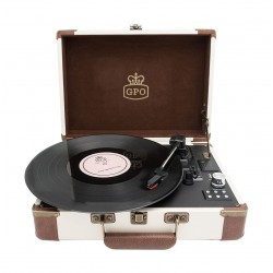 GPO Ambassador Bluetooth Record Player - Cream/Tan