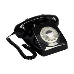 GPO Corded Rotary Telephone - Push Black
