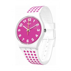 Swatch Pinkdots Analog Quartz 34mm Rubber Watch (GW190) - Pink/White