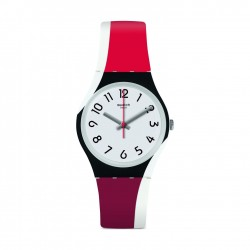 Swatch Redtwist Quartz Analog 34mm Unisex Rubber Watch (GW208)