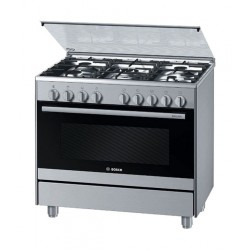 Bosch 90x60cm 5-Burner Free Standing Gas Cooker (HSG736357M) - Stainless Steel