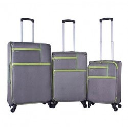 Ashare Set Of 3 Soft Luggage (28/457) - Grey/Green