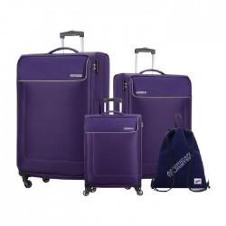 American Tourister Jamaica 3 Piece Luggage Set + Sling Bag - Purple