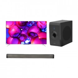 TCL P715 Series 55-inch Android UHD LED TV - Black + Wansa Soundbar 30W (LY-S218W) + Wansa Subwoofer 30W (LY-S218W)