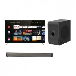 TCL 55-inch Smart QLED UHD Television - (55C715) + Wansa Soundbar 30W (LY-S218W) + Wansa Subwoofer 30W (LY-S218W)