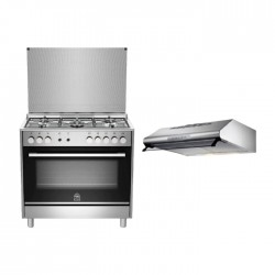 Lagermania 90x60 Gas Cooker (TUS95C31DX) – Silver + Lagermania 90cm Undercabinet Cooker Hood - Stainless Steel (K90TUSX/19)