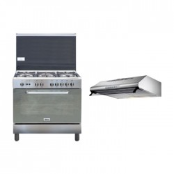Wansa 90x60cm Gas Cooker (WCI9502124XA) – Stainless Steel + Lagermania 90cm Undercabinet Cooker Hood - Stainless Steel (K90TUSX/19)