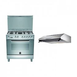 Lagermania 80x50 cm 5-Burner Floor Standing Gas Cooker (TU85C30DX) + Lagermania 80cm Under-Cabinet Cooker Hood