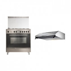 Wansa 80x50 Floorstanding Gas Cooker (WE8050X) + Lagermania 80cm Under-Cabinet Cooker Hood