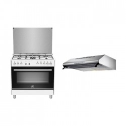 Lagermania TUS95C32DW 90x60 Gas Cooker with Oven - White + Lagermania 90cm Under-Cabinet Cooker Hood