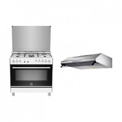 Lagermania 90x60CM 5 Burners Gas Cooker With Oven (TUS95C31DW) + Lagermania 90cm Under-Cabinet Cooker Hood