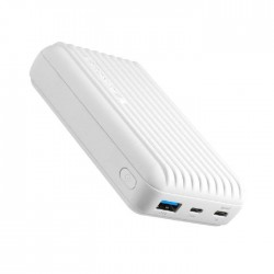 Promate Titan 10000mAh Ultra- Compact Rugged Power Bank with USB-C Input & Output - White