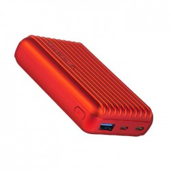 Promate Titan 10000mAh Ultra- Compact Rugged Power Bank with USB-C Input & Output - Red