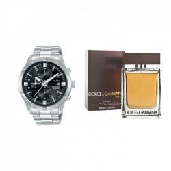 Alba 44mm Gent's Chronograph Sports Metal Watch + Dolce & Gabbana The One - Eau de Toilette 100 ml + Alba Gift Watch Box