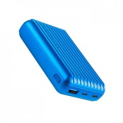 Promate Titan 10000mAh Ultra- Compact Rugged Power Bank with USB-C Input & Output - Blue