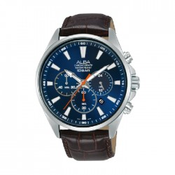 Alba 43mm Chronograph Gents Leather Casual Watch (AT3G63X1)