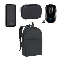 Rivacase 15.6-inch Laptop backpack + 10,000 mAh Powerbank/HDD with Protective Case + Wireless Mouse