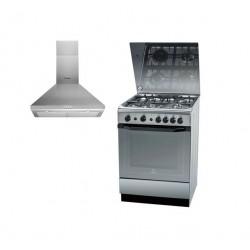 Indesit 60x60 cm 4-Burner Free Standing Gas Cooker + Chimney Type Cooker Hood