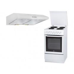 Indesit 50x60 cm 4 burner Ceramic Electric Cooker + Wansa 60cm Built Under Cooker Hood