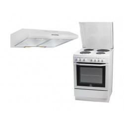 Indesit 60x60 4-Burner Free Standing Electric Cooker + Wansa 60cm Built Under Cooker Hood