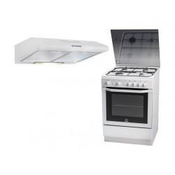 Indesit 60x60 cm 4-Burner Free Standing Gas Cooker  + Wansa 60cm Built Under Cooker Hood