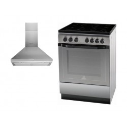 Indesit 60x60cm 4-Burners Free Standing Electric Cooker + Indesit 60cm Chimney Type Cooker Hood