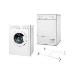 Indesit 8kg 1400RPM Ecotime Front Loading Washing Machine + Indesit 8kg Condenser Dryer  + Wansa Washer and Dryer Stacking Unit