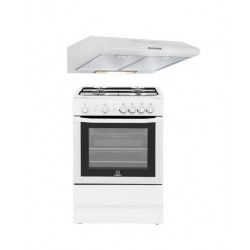 Indesit 60x60CM 4-Burner Free Standing Gas Cooker + Wansa 60cm Built Under Cooker Hood