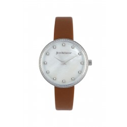Jean Bellecour 34mm Analog Ladies Leather Watch (JBP1917) - Brown