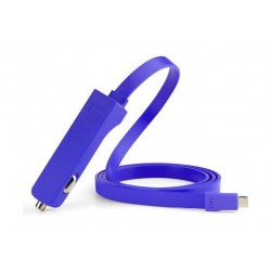 Tylt 4.8A Ribbn Car Charger With Flat Cable – Blue