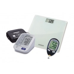 Omron M3 IT Arm Blood Pressure Monitor + Freedom Lite Blood Glucose Machine + Digital Weighing Scale
