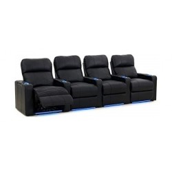 Kustom Tech Leather Arm Power Recliner (Row of 4 Seats) - Black