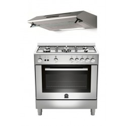 Lagermania 80 x 50 Gas Cooker + Lagermania 80 x 50 Cooker Hood - Stainless Steel