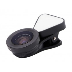 Liegi Wide Angle + Macro + LED Flash Phone Lens (LQ-035) - Black