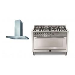 Lofra 120x60 cm 7 Burners Gas Cooker (PG126G2VGT/2CI) + Lofra Jacintha 120cm Cooker Hood