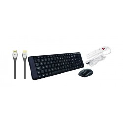Logitech MK220 Wireless Mouse & Keyboard Combo + Masterplug Extension Cord + EQ HDMI Cable