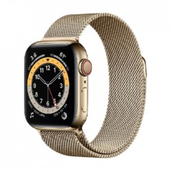 Apple Watch Series 6 Cellular 44mm Stainless Steel Case with Gold Milanese Loop in Kuwait | Buy Online – Xcite