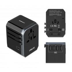 MOMAX 4 USB-C Charging Ports Universal Travel Adapter - Black