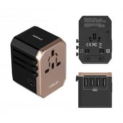 MOMAX 4 USB-C Charging Ports Universal Travel Adapter - Gold