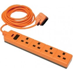 Masterplug EXS1344O 4m 4-Gang Permaplug Heavy Duty Extension Lead - Orange