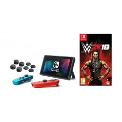Nintendo Switch Portable Gaming System + WWE 2K18: Nintendo Switch Game + Hama 8-in-1 Control Stick Attachments